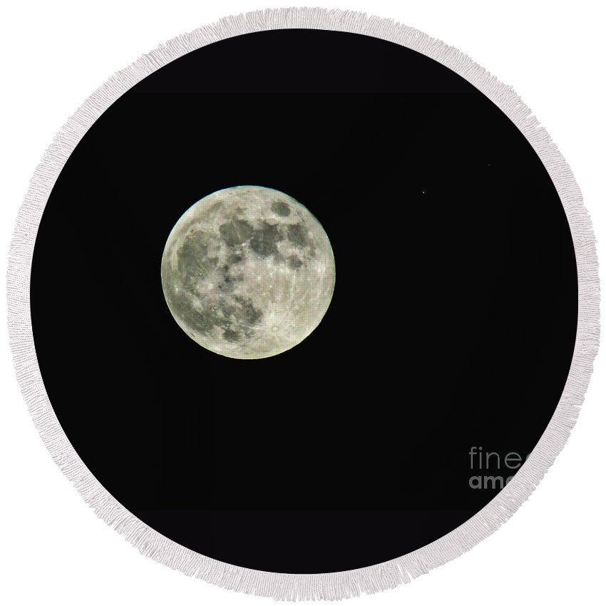 Nature Round Beach Towel featuring the photograph Full Moon by Debbie Portwood