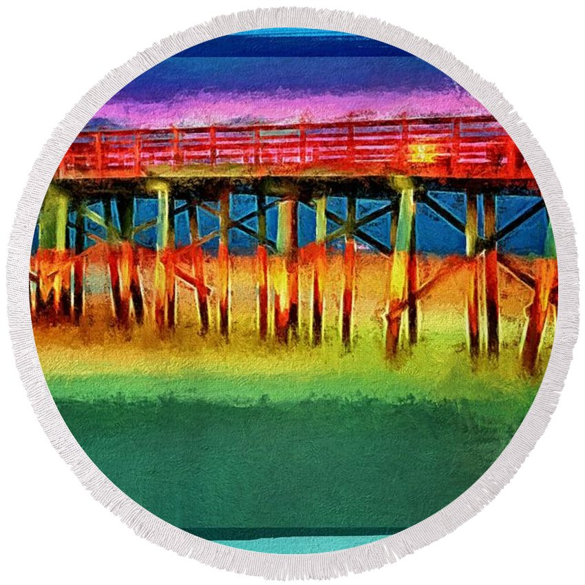 Flagler Beach Pier Round Beach Towel featuring the photograph Full Moon In Flagler by Alice Gipson