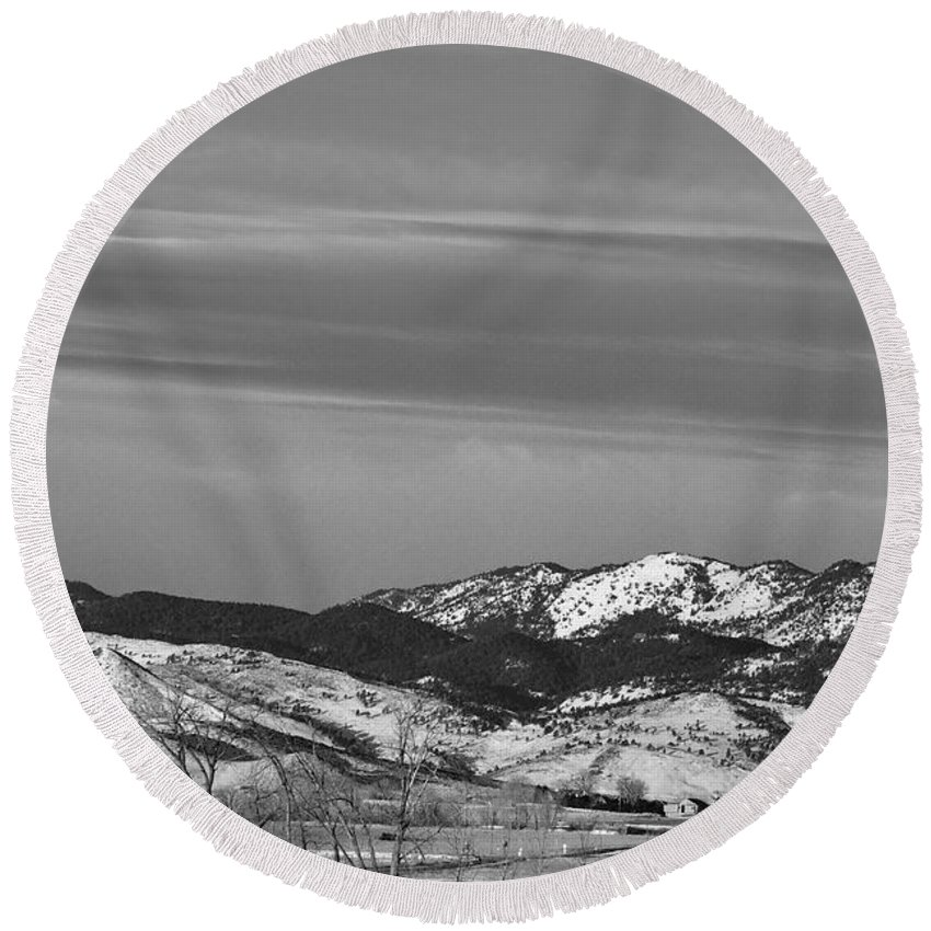 Horse Round Beach Towel featuring the photograph Full Moon On The Co Front Range Bw by James BO Insogna