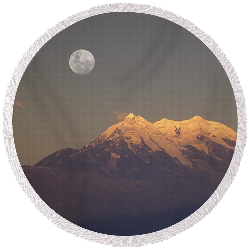 Bolivia Round Beach Towel featuring the photograph Full Moon Rise Over Mt Illimani by James Brunker