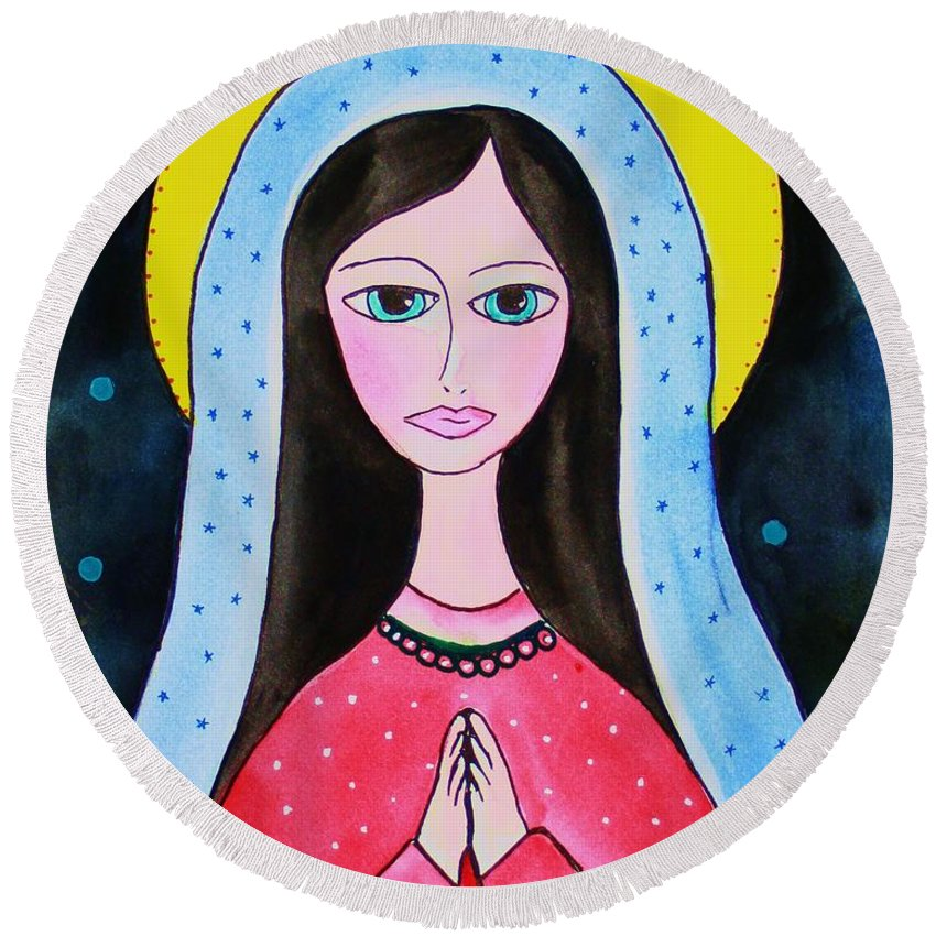 Mary Round Beach Towel featuring the painting Full Of Grace by Melinda Etzold