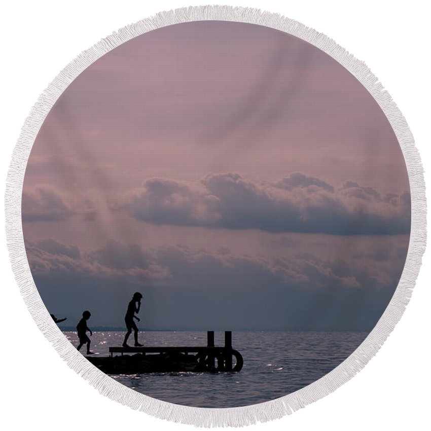 Sunset Round Beach Towel featuring the photograph Fun At Sunset by Jean-Pierre Ducondi