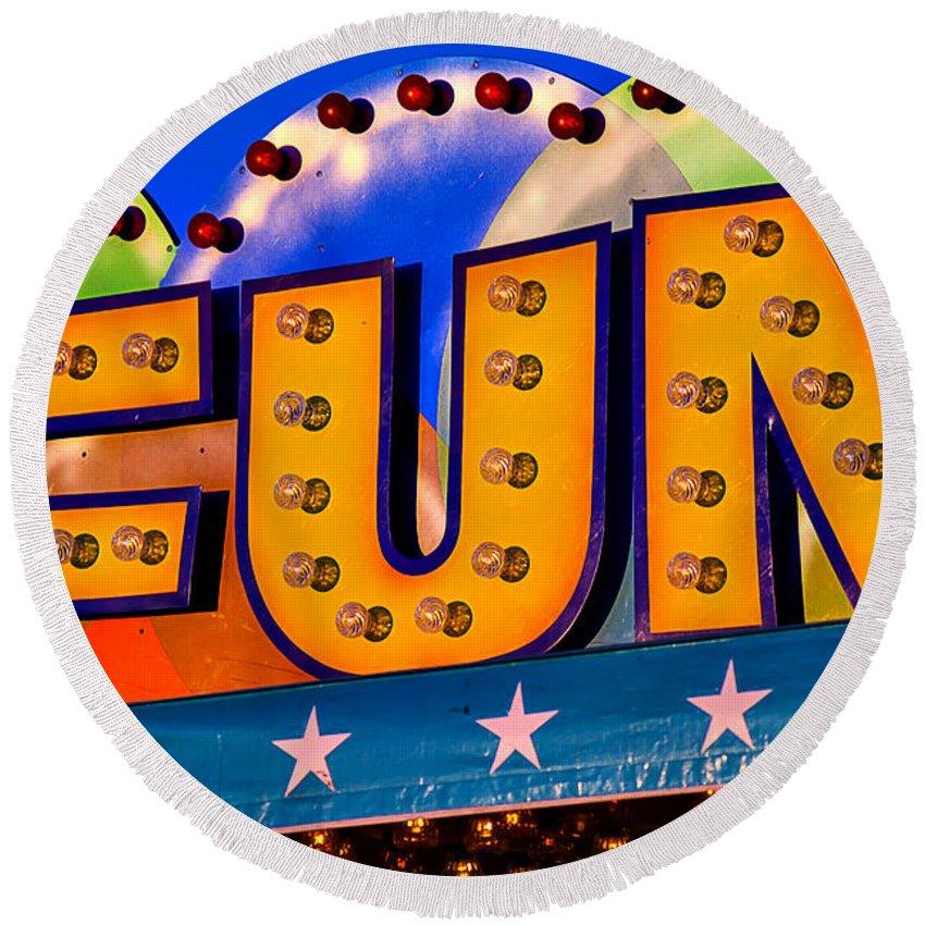 Fun Round Beach Towel featuring the photograph Fun Fair Sign by Garry Gay