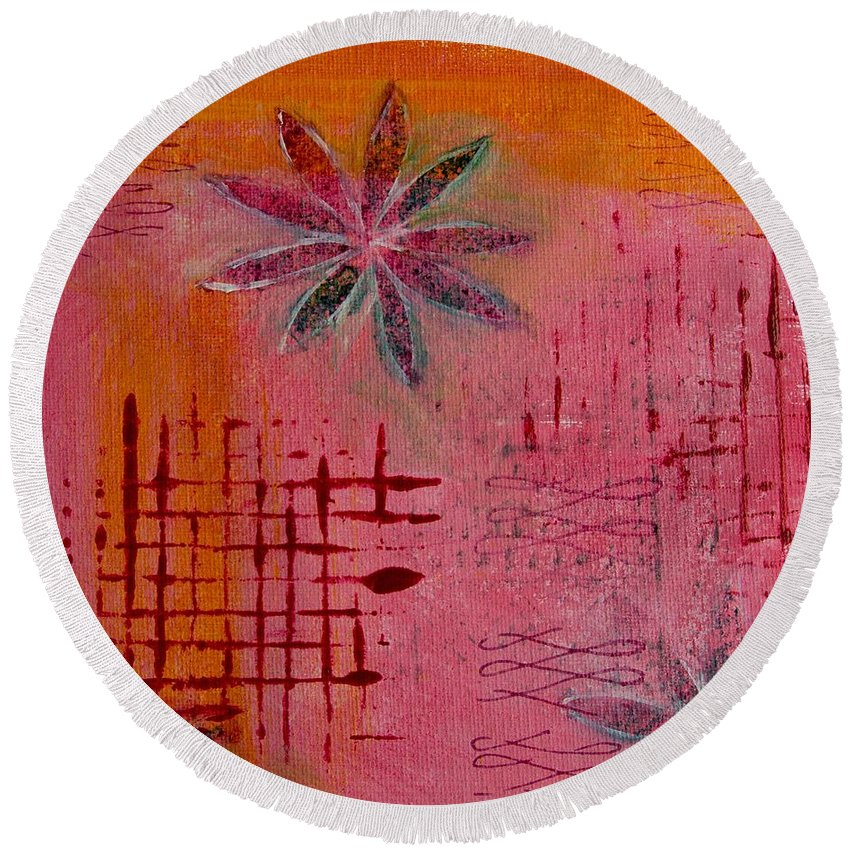 Orange Round Beach Towel featuring the painting Fun Flowers In Pink And Orange 1 by Jocelyn Friis