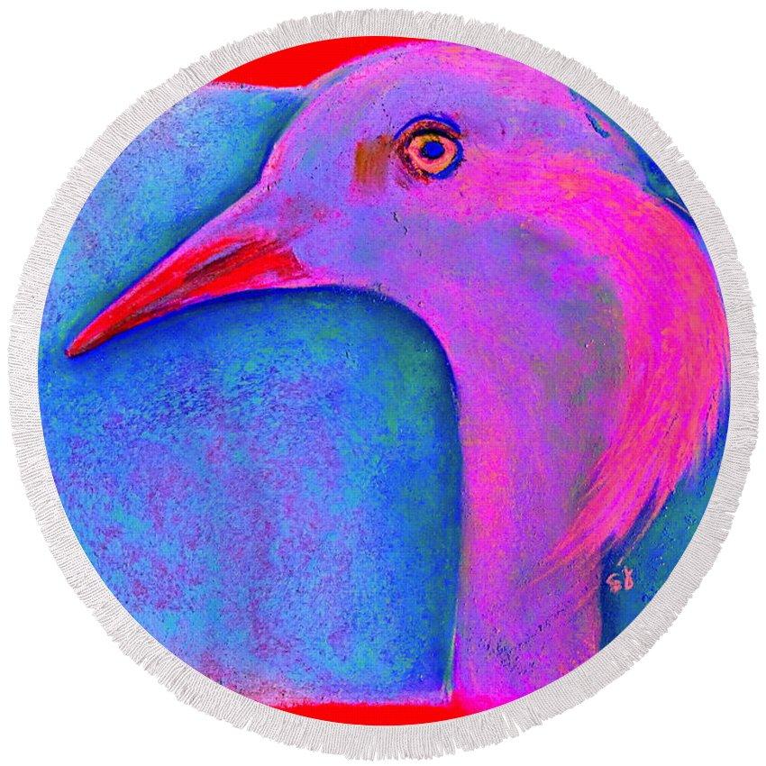 Art Round Beach Towel featuring the painting Funky Demoiselle Crane Bird Art Prints by Sue Jacobi