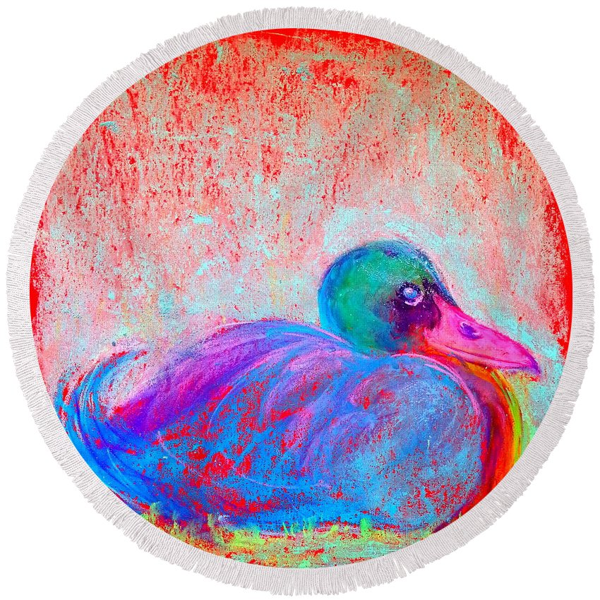 Art Round Beach Towel featuring the painting Funky Duck In Snowfall by Sue Jacobi