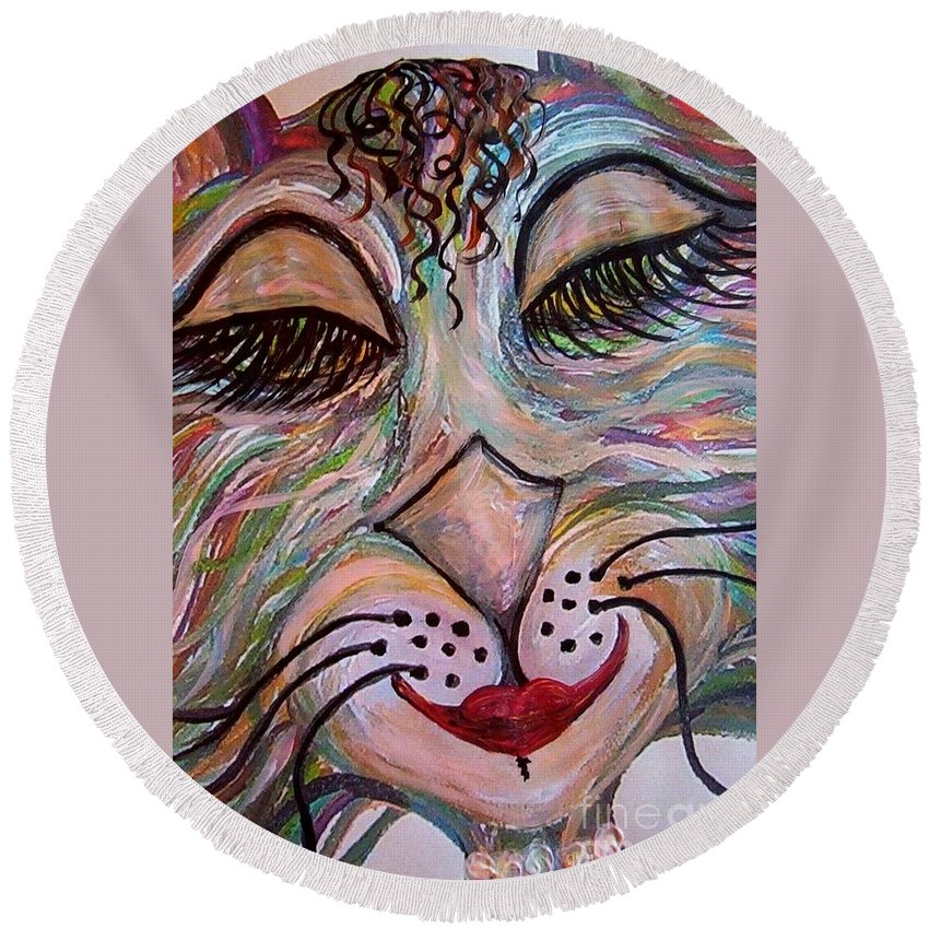 Cat Round Beach Towel featuring the painting Funky Feline by Eloise Schneider Mote
