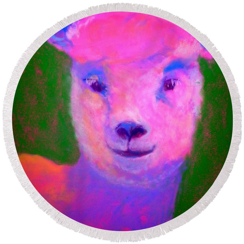 Art Round Beach Towel featuring the painting Funky Pinky Lamb Art Print by Sue Jacobi