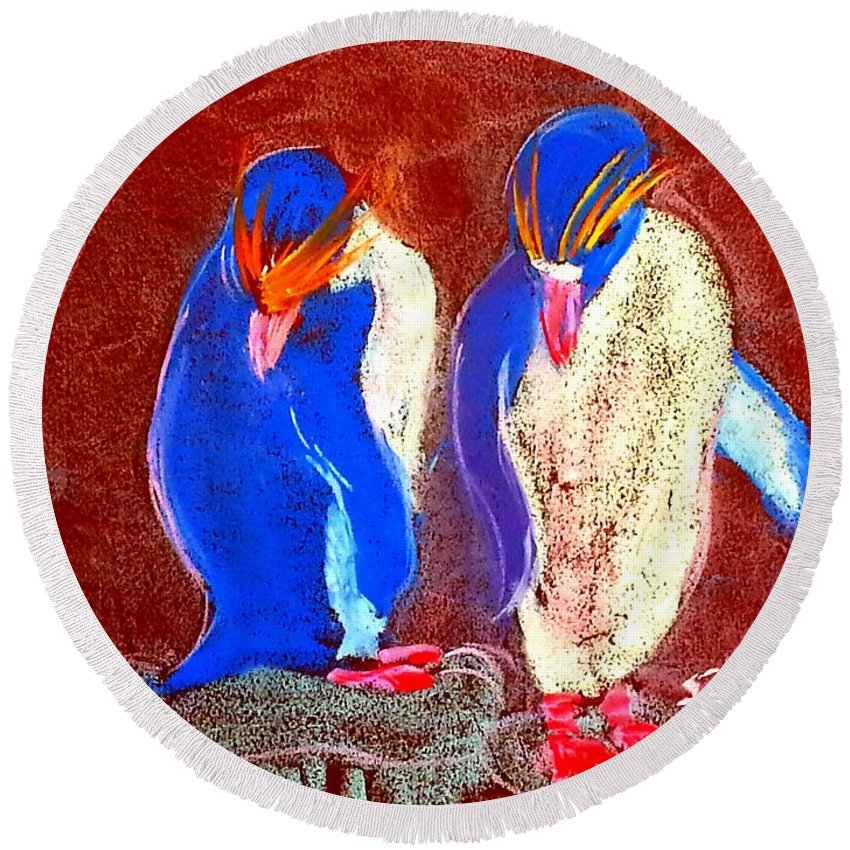 Art Round Beach Towel featuring the painting Funky Rockhopper Penguins by Sue Jacobi