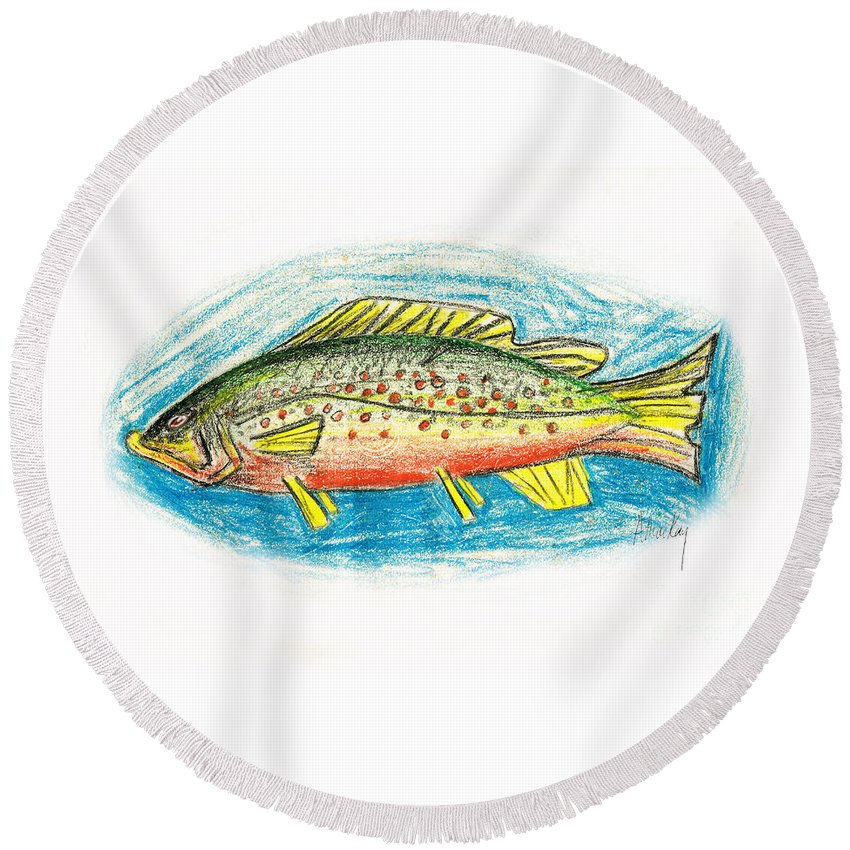 Trout Round Beach Towel featuring the mixed media Funky Trout by Art MacKay