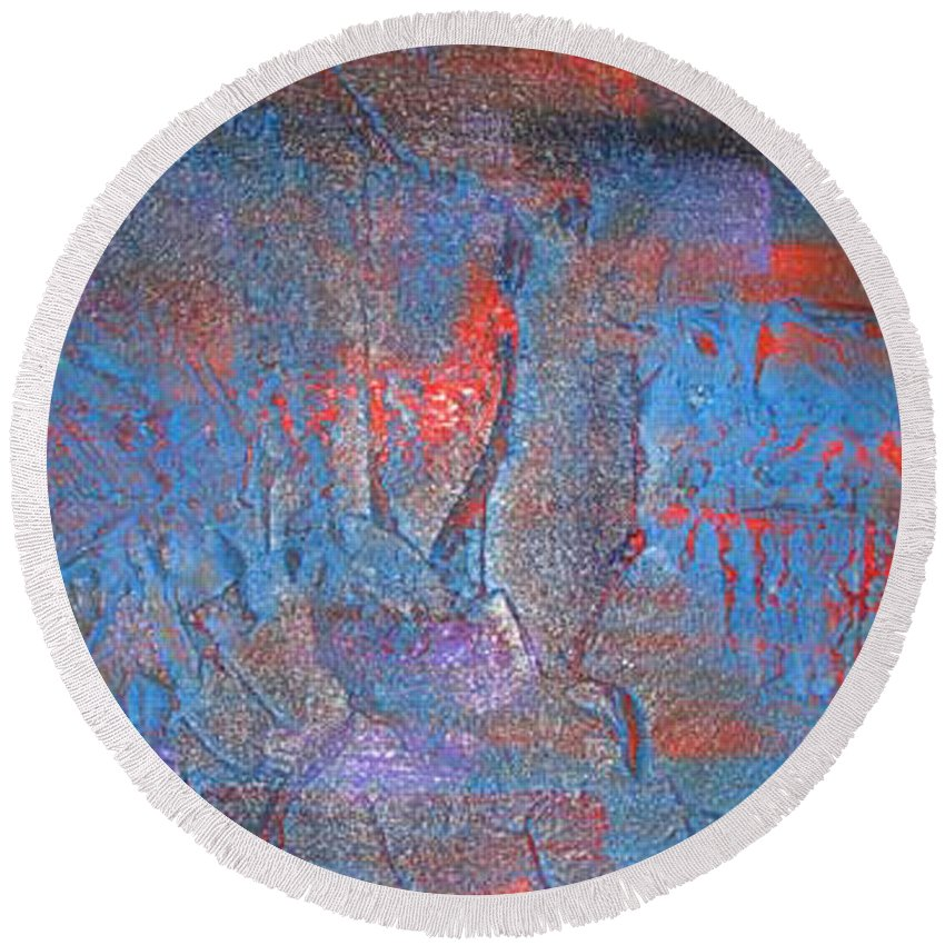 Abstract Round Beach Towel featuring the painting Funny Rain by Silvana Abel