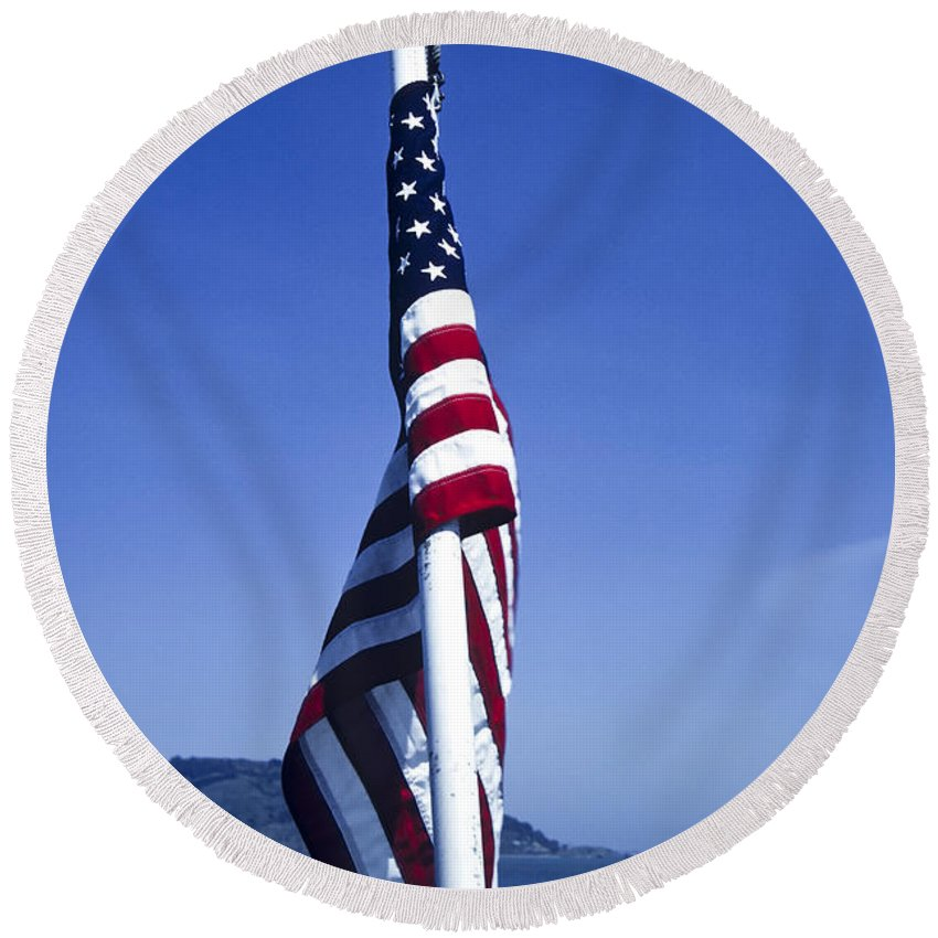 American Flag Round Beach Towel featuring the photograph Furled Flag by Roderick Bley