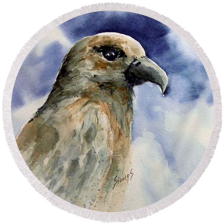 Hawk Round Beach Towel featuring the painting Fury by Sam Sidders