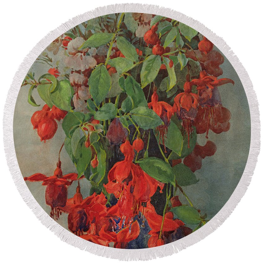 Fuchsia And Snapdragon In A Vase Round Beach Towel featuring the painting Fushia And Snapdragon In A Vase by William Jordan