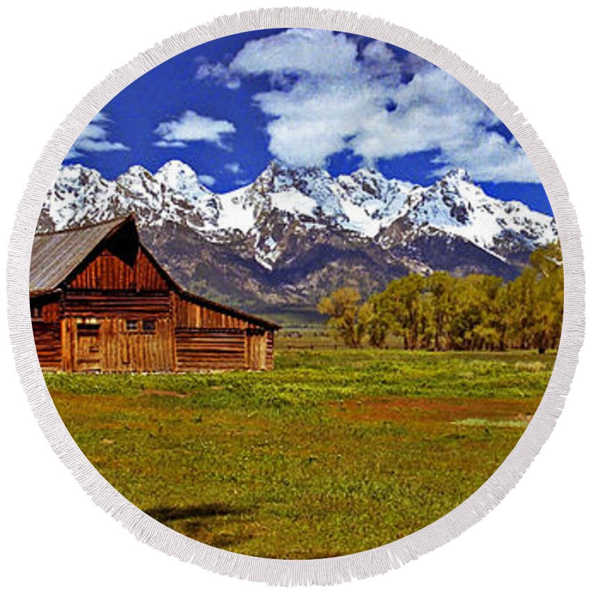Wyoming Round Beach Towel featuring the photograph Gable Roof Barn Panorama by Rich Walter