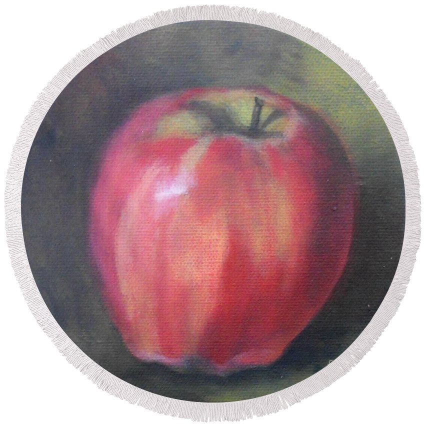 Still Life Round Beach Towel featuring the painting Gala Apple by Marlene Book