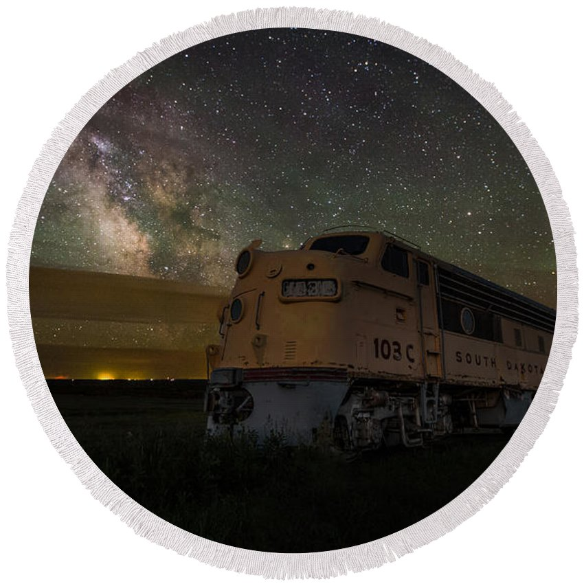 #central Round Beach Towel featuring the photograph Galactic Express by Aaron J Groen