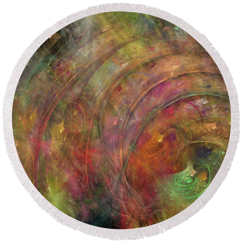 Fractal Round Beach Towel featuring the digital art Galaxy 34g21a by Betsy Knapp
