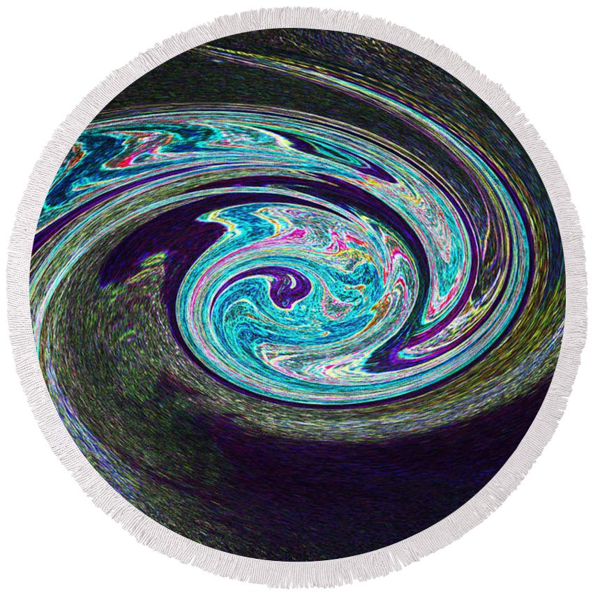 First Star Round Beach Towel featuring the painting Galaxy Birth 1 Conception by First Star Art