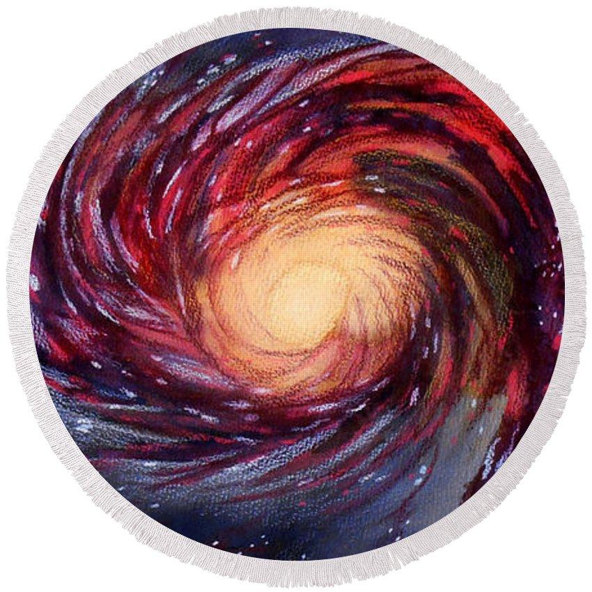 Galaxy Round Beach Towel featuring the painting Galaxy by Renee Boyett