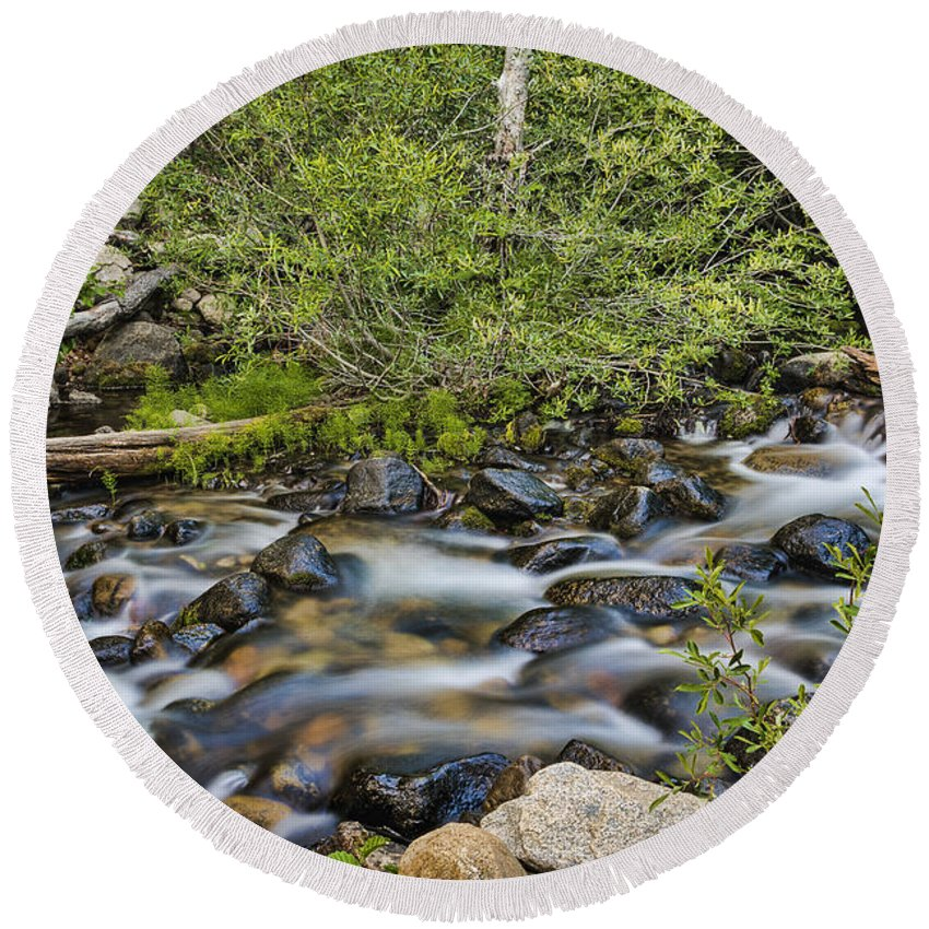 Landscape Round Beach Towel featuring the photograph Galena Creek by Maria Coulson