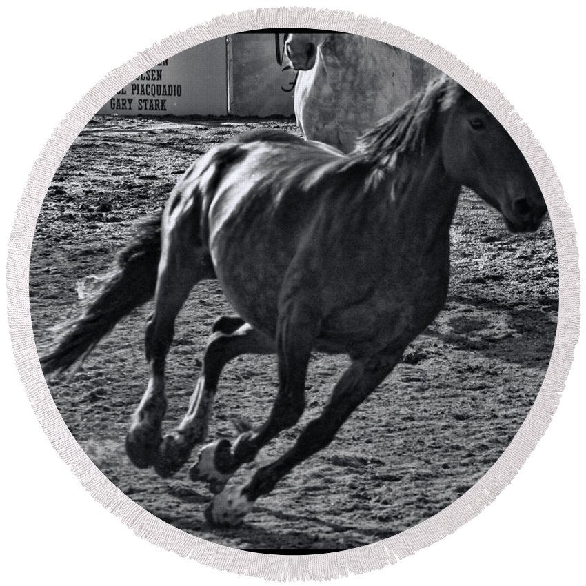 Fiesta Day's Round Beach Towel featuring the photograph Gallop 2 by Tommy Anderson