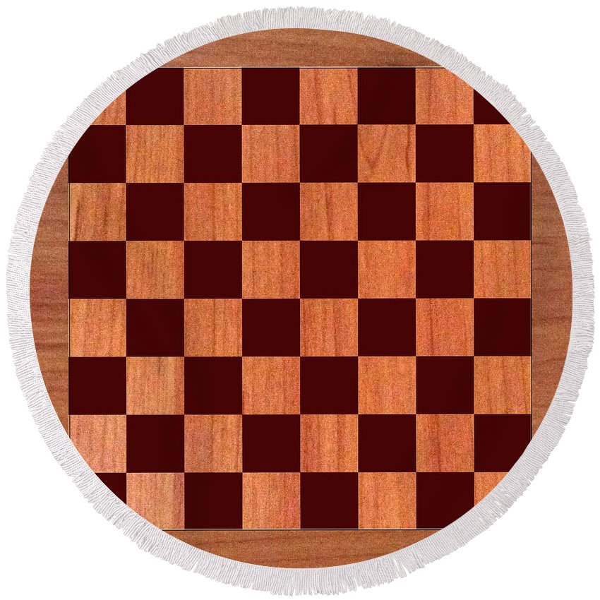 Order This Wood Grain Game Board As A Duvet Covers For Your King Bed Round Beach Towel featuring the photograph Game Board by Jack Pumphrey
