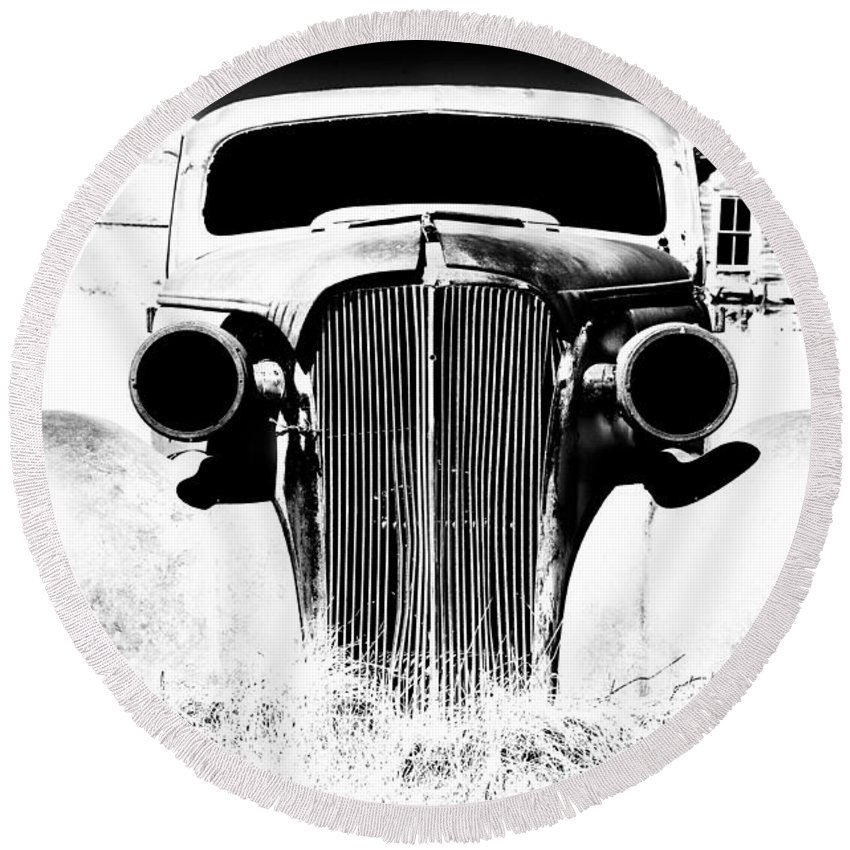 Ghost Town Round Beach Towel featuring the photograph Gangster Car by Cat Connor