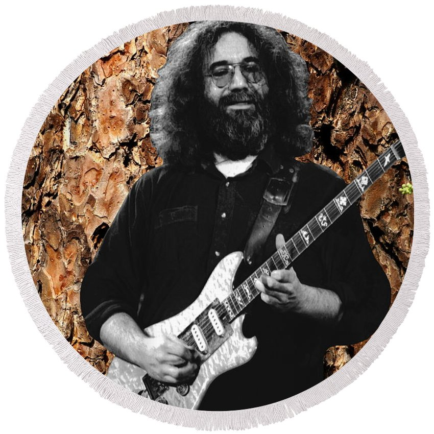 Jerry Garcia Round Beach Towel featuring the photograph Garciabark by Ben Upham