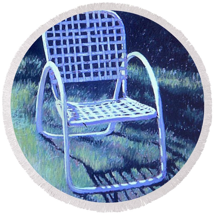 Pastel Round Beach Towel featuring the painting Garden Chair by Mary McInnis