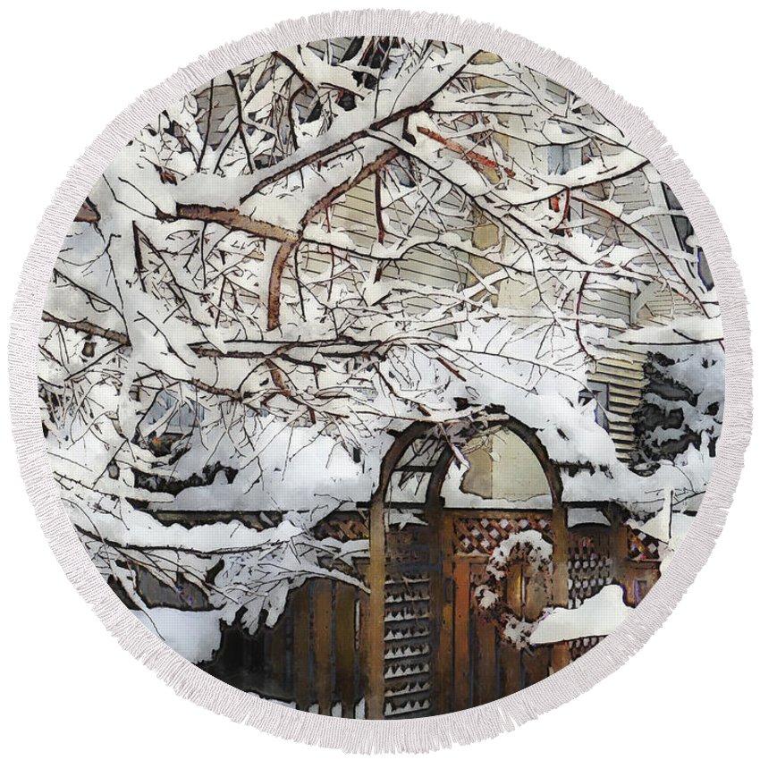 Winter Round Beach Towel featuring the photograph Garden Gate In Winter by Susan Savad