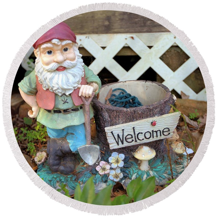 6053 Round Beach Towel featuring the photograph Garden Gnome - Square by Gordon Elwell