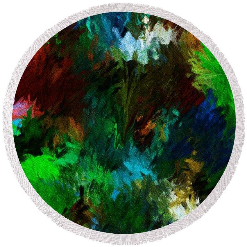 Fine Art Round Beach Towel featuring the digital art Garden In My Dream by David Lane