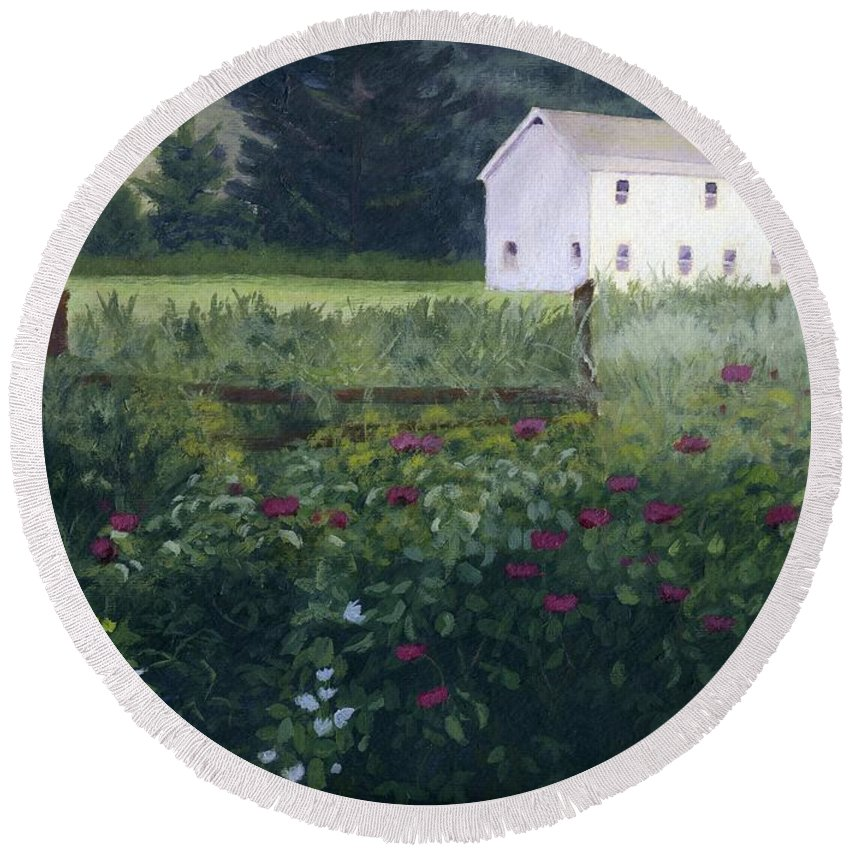Garden Round Beach Towel featuring the painting Garden In The Back by Lynne Reichhart