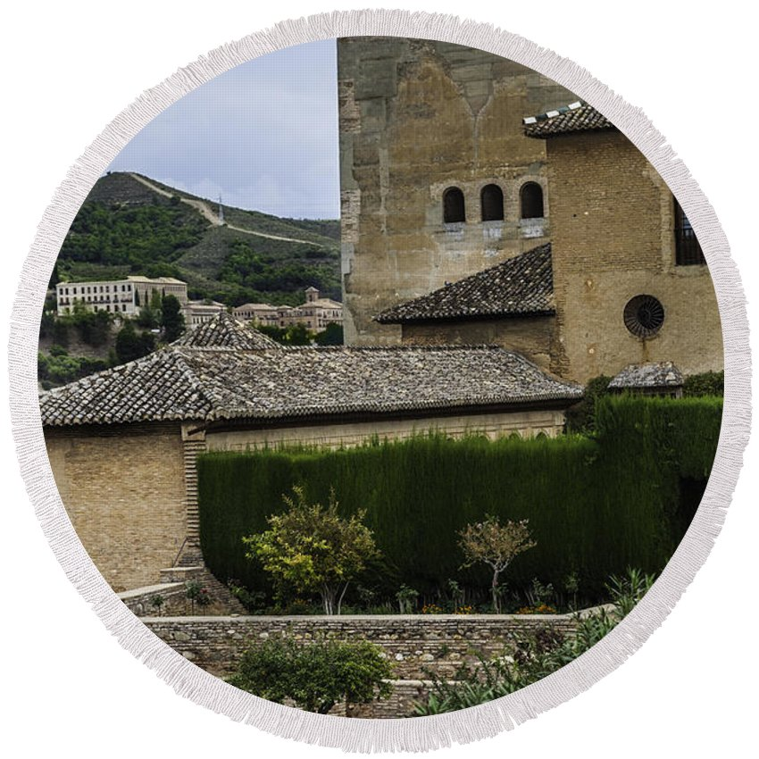 La Alhambra Round Beach Towel featuring the photograph Garden Of La Alhambra In Granada - Spain by Madeline Ellis