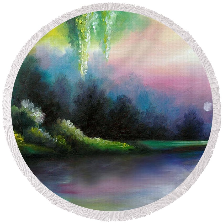 Sunrise Round Beach Towel featuring the painting Garden of Eden I by James Christopher Hill