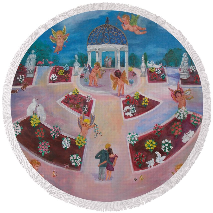 Angel Round Beach Towel featuring the painting Garden Of Love by To-Tam Gerwe