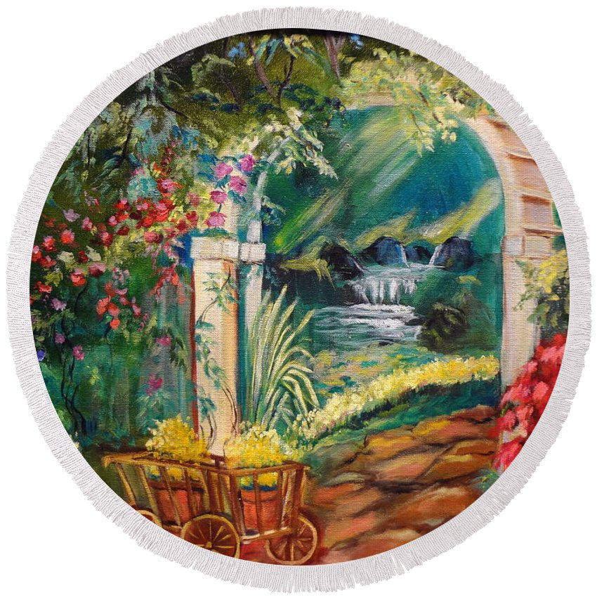 Garden Scene Round Beach Towel featuring the painting Garden Of Serenity Beyond by Jenny Lee