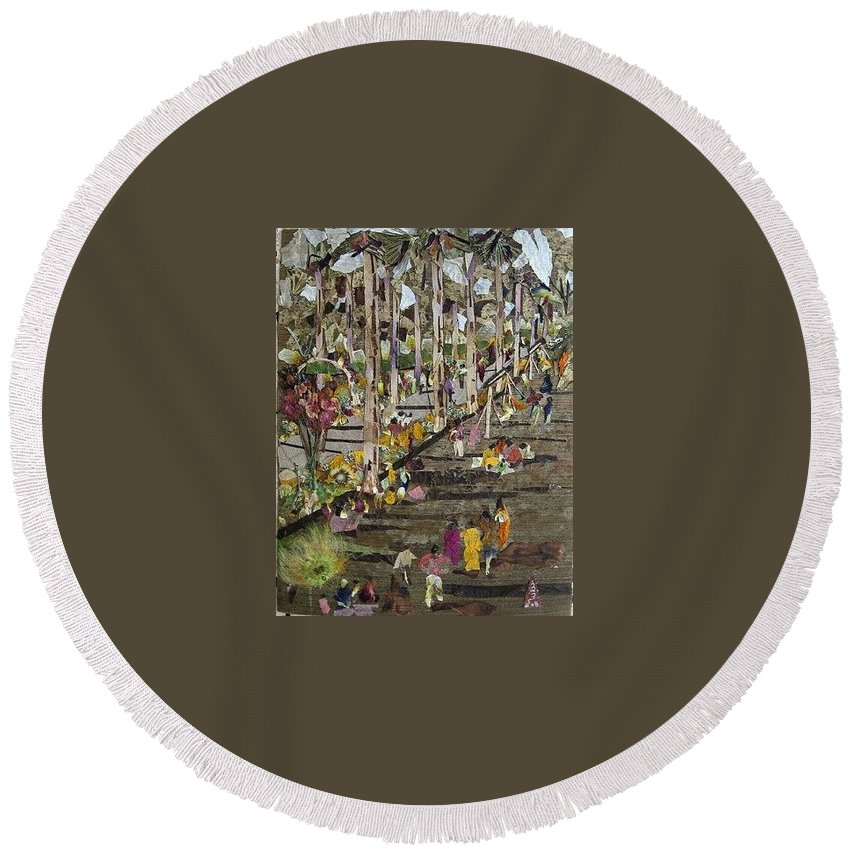 Garden Morning View Round Beach Towel featuring the mixed media Garden Picnic by Basant Soni