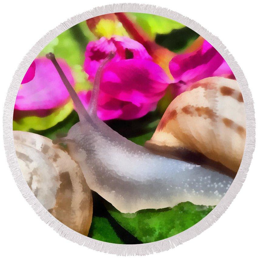 Animal Round Beach Towel featuring the digital art Garden Snails by Roy Pedersen