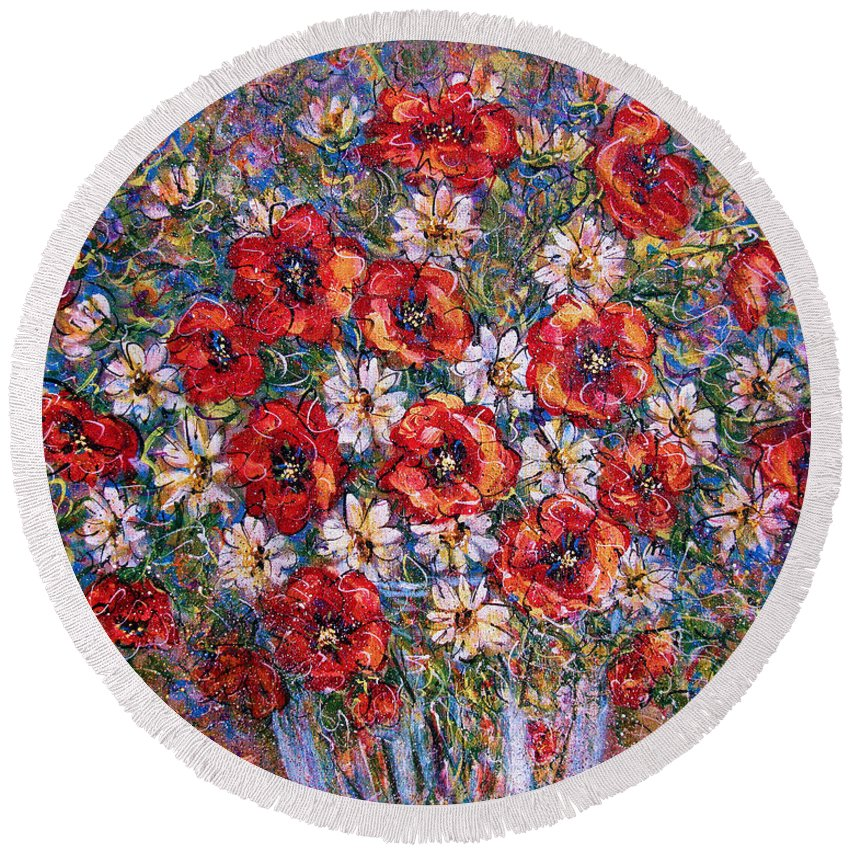Flowers Round Beach Towel featuring the painting Garden Splendor by Natalie Holland