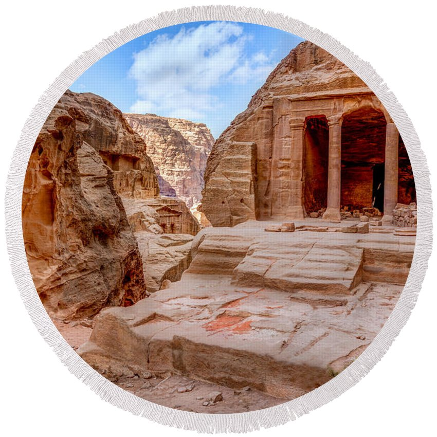 Petra Round Beach Towel featuring the photograph Garden Tomb by Alexey Stiop