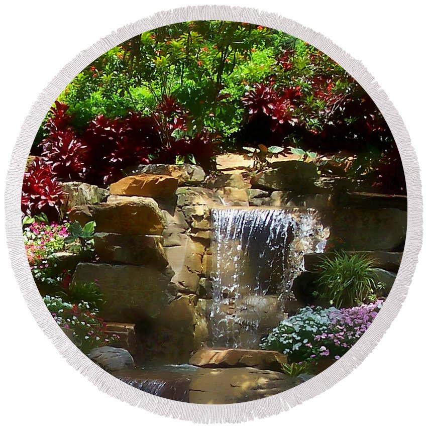Garden Round Beach Towel featuring the photograph Garden Waterfalls by Pharris Art