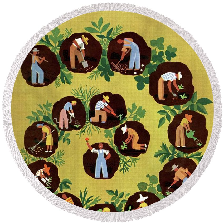 House And Garden Round Beach Towel featuring the photograph Gardeners And Farmers by Witold Gordon