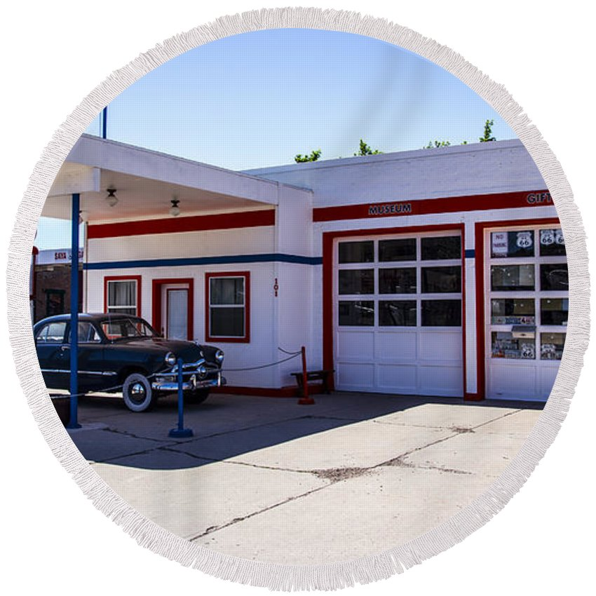 Route 66 Round Beach Towel featuring the photograph Gas Station Museum by Angus Hooper Iii
