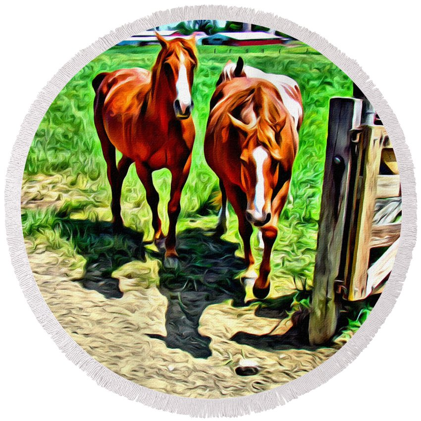 Horses Round Beach Towel featuring the photograph Gate Horse by Alice Gipson