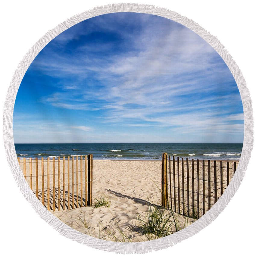 Beach Round Beach Towel featuring the photograph Gateway To Serenity Myrtle Beach Sc by Stephanie McDowell