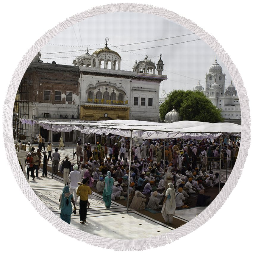 Action Round Beach Towel featuring the photograph Gathering Inside The Golden Temple In Amritsar by Ashish Agarwal