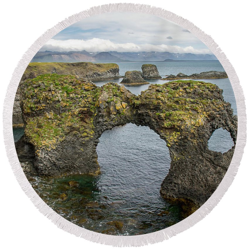 Iceland Round Beach Towel featuring the photograph Gatklettur Arch In Hellnar by For Ninety One Days