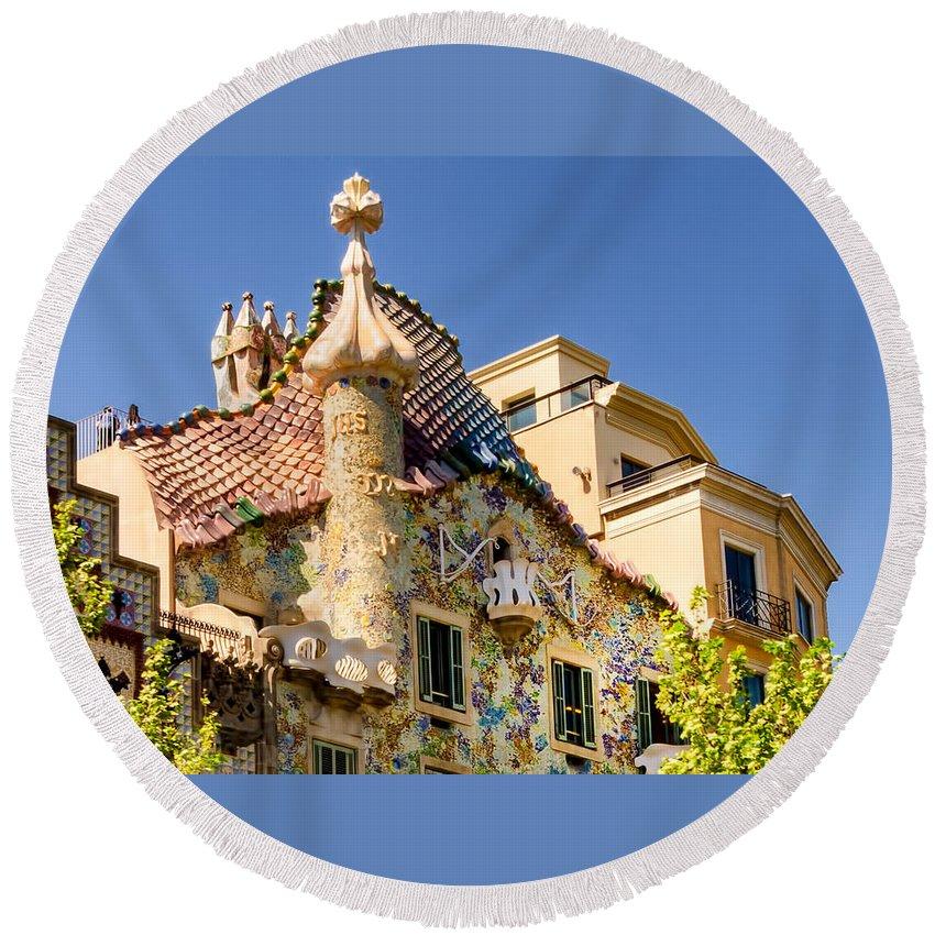 Casa Batllo Round Beach Towel featuring the photograph Gaudi Apartment by Jon Berghoff